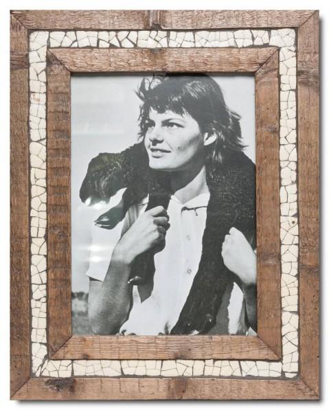 Straußenei-Mosaik Altholz Bilderrahmen für Bildgröße DIN A4 von Luna Designs
