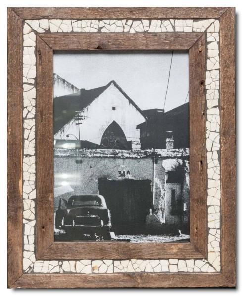 Straußenei-Mosaik Altholz Bilderrahmen aus Südafrika