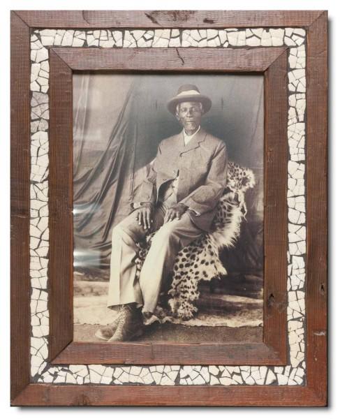 Vintage Bilderrahmen Straußenei-Mosaik aus Südafrika