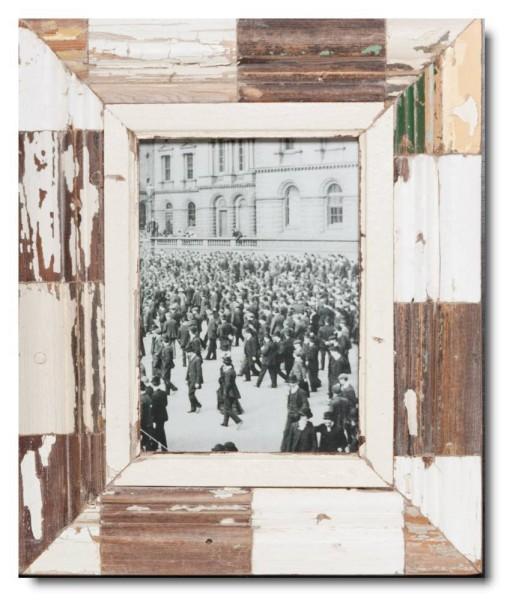Mosaik Bilderrahmen aus recyceltem Holz für Fotogröße 21 x 14,8 cm aus Kapstadt
