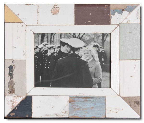 Mosaik Bilderrahmen aus recyceltem Holz für Fotoformat 21 x 14,8 cm aus Kapstadt