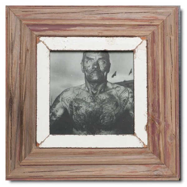 Quadrat Bilderrahmen aus recyceltem Holz für Bildgröße DIN A5 Quadrat aus Südafrika