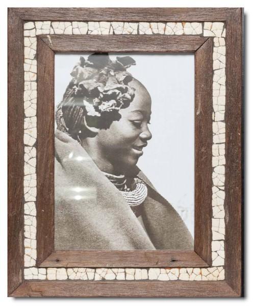 Mosaik-Bilderrahmen aus recyceltem Holz und Straußeneierschale aus Südafrika