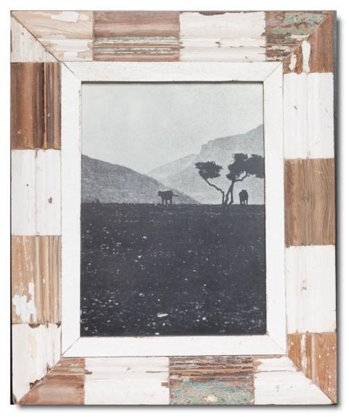 Mosaik Bilderrahmen aus recyceltem Holz
